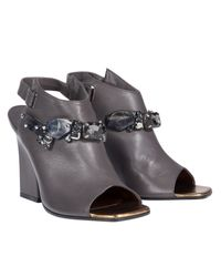 Dorothee Schumacher - Gray Biker Chic Embroidery Sandal - Lyst