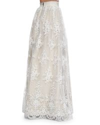 Alice + Olivia - Gray Carter Flared Embroidered Ball Skirt - Lyst