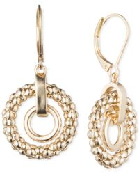 Anne Klein | Metallic Double Circle Drop Earrings | Lyst