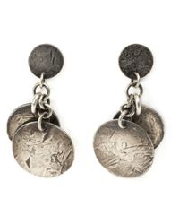 Werkstatt:münchen | Metallic Distressed Coin Earrings | Lyst