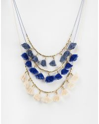 Mango | Blue Tassle Necklace | Lyst