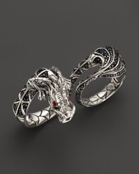 John Hardy | Naga Silver Lava Twofinger Dragon Ring with Black Sapphire Ruby | Lyst