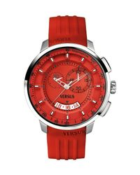 Versus - Mens Manhattan Red Rubber Chronograph Tachymeter Date Watch - Lyst