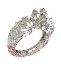 Betsey Johnson | Metallic Ballerina Rose Swan Cuff Bracelet | Lyst