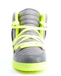 Gucci - Gray Grey And Neon Lime Leather Lace Up Sneakers for Men - Lyst