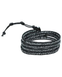 Aeravida | Black Facets Hematite Genuine Black Leather 3-wrap Bracelet | Lyst