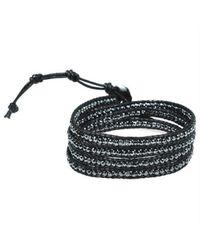 Aeravida - Black Facets Hematite Genuine Black Leather 3-wrap Bracelet - Lyst