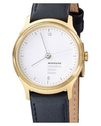 Mondaine | Metallic 'helvetica No.1 Light' Round Leather Strap Watch | Lyst