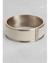 & Other Stories - White Leather and Brass Bangle - Lyst