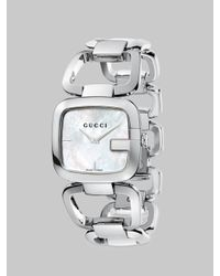 Gucci | Metallic G- Mother-Of-Pearl & Stainless Steel Open-Link Bracelet Watch | Lyst