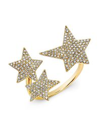 Anne Sisteron | 14kt Yellow Gold Diamond Triple Star Ring | Lyst