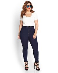 Forever 21 - Blue Plus Size High-waisted Skinny Jeans (regular) - Lyst