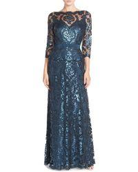 Tadashi Shoji - Blue Illusion-Yoke Sequinned Lace Dress - Lyst