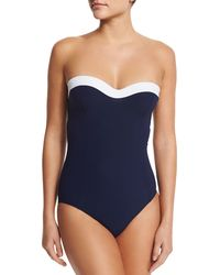 Tory Burch | Blue Colorblock Bandeau One-piece Swimsuit | Lyst