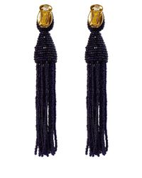 Oscar de la Renta - Dark Purple Long Tassel Clip-On Earrings - Lyst