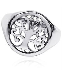 Aeravida | Metallic 'tree Of Life' Sacred Symbol .925 Sterling Silver Ring | Lyst