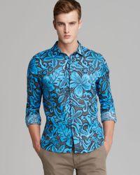 Michael Kors | Blue Floral Print Linen Sport Shirt Classic Fit for Men | Lyst