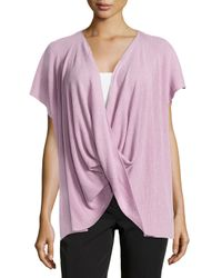 Natori - Pink Draped Short-sleeve Ribbed Sweater - Lyst