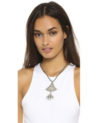 Sam Edelman | Metallic Flared Double Pendant Necklace - Rhodium | Lyst