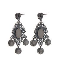 Bottega Veneta | Metallic Classic Oxidised-silver Intrecciato Drop Earrings | Lyst
