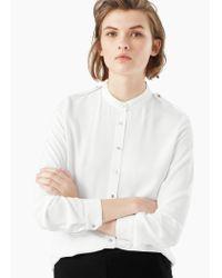 Mango - White Printed Flowy Shirt - Lyst