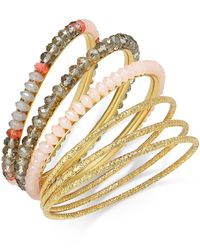 INC International Concepts - Metallic Gold-tone Pink Stone Bangle Bracelet Set - Lyst