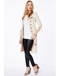 Missguided - Natural Helaine Nude Crepe Trench Coat - Lyst