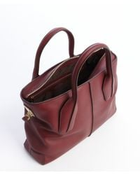 Tod's - Red Burgundy Leather Convertible Tote - Lyst