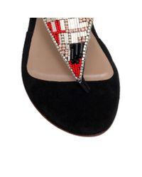 Kurt Geiger | Black Sahar Flat Embellished Sandals | Lyst