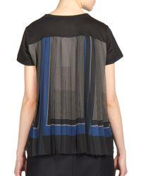 Sacai - Black Georgette-back T-shirt - Lyst