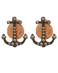Annoushka | Metallic Rose Gold Love Diamonds Anchor Stud Earrings | Lyst