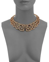 Oscar de la Renta - Metallic PavÉ Scalloped Lace Web Collar Necklace - Lyst
