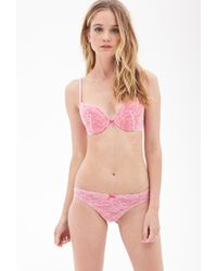 c8109f3812d00 Forever 21 Floral Lace Push-up Bra in Pink - Lyst