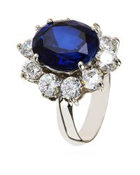 Carat* | Blue Royal Oval Sapphire Cluster Ring | Lyst
