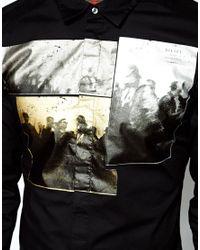 DIESEL | Black Shirt S-Hethin Foil Photo Print for Men | Lyst