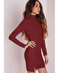 Missguided | Purple Crepe High Neck Bodycon Dress Burgundy | Lyst
