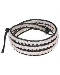 Aeravida | White Light Pink Muse Rose Quartz Gemstone Tribal Wrap Leather Bracelet | Lyst