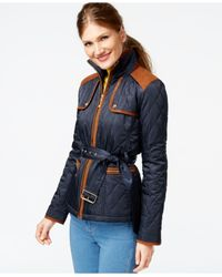 Vince Camuto | Blue Faux-suede-trim Quilted Barn Jacket | Lyst