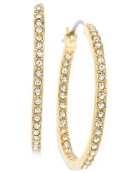 T Tahari | Metallic Gold-tone Crystal Pavé Hoop Earrings | Lyst