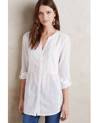 Maeve | White Pintucked Buttondown Tunic | Lyst