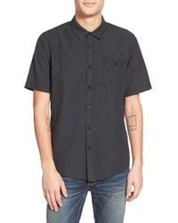 Ezekiel | Black 'devoted' Short Sleeve Dobby Chambray Woven Shirt for Men | Lyst