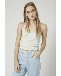 TOPSHOP | Green Ribbed Crop Cami | Lyst
