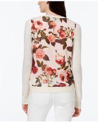 Cece by Cynthia Steffe - Pink Floral Chiffon-back Cardigan - Lyst