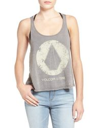 Volcom - Gray 'true Life Today' Graphic Cotton Tank - Lyst