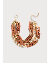 Bebe - Brown Wood & Chain Wrap Bracelet - Lyst