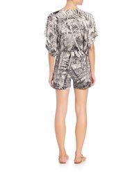 Norma Kamali - Gray Printed Short Jumpsuit - Lyst