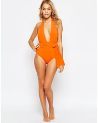 ASOS | Orange Belted Plunge Swimsuit | Lyst