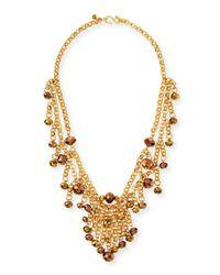 Kenneth Jay Lane - Metallic Beaded Golden Chain Necklace - Lyst