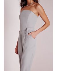 Missguided - Gray D Ring Bandeau Jumpsuit Grey - Lyst