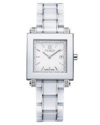 Fendi | Metallic Ladies Ceramic Timepiece With Diamonds | Lyst